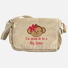 Big Sister to Be Pink Monkey Messenger Bag