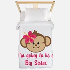 Big Sister to Be Pink Monkey Twin Duvet