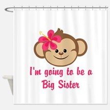 Big Sister to Be Pink Monkey Shower Curtain