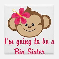 Big Sister to Be Pink Monkey Tile Coaster