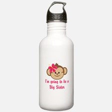Big Sister to Be Pink Monkey Water Bottle
