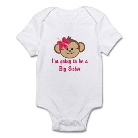 Big Sister to Be Pink Monkey Body Suit
