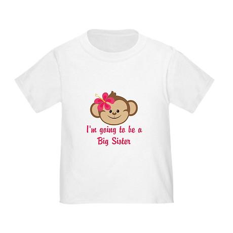 Big Sister to Be Pink Monkey T-Shirt