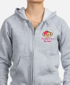 Big Sister to Be Pink Monkey Zip Hoodie