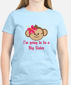Big Sister to Be Pink Monkey T-Shirt
