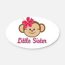 Little Sister Monkey Girl Oval Car Magnet