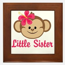 Little Sister Monkey Girl Framed Tile