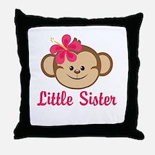 Little Sister Monkey Girl Throw Pillow