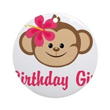 Birthday Girl Pink Monkey Ornament (Round)