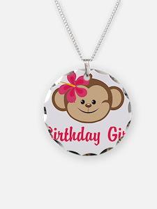 Birthday Girl Pink Monkey Necklace