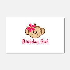 Birthday Girl Pink Monkey Car Magnet 20 x 12