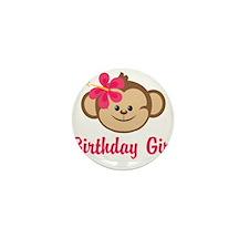 Birthday Girl Pink Monkey Mini Button
