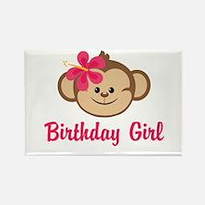 Birthday Girl Pink Monkey Rectangle Magnet