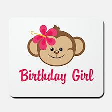 Birthday Girl Pink Monkey Mousepad