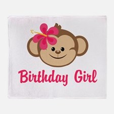 Birthday Girl Pink Monkey Throw Blanket