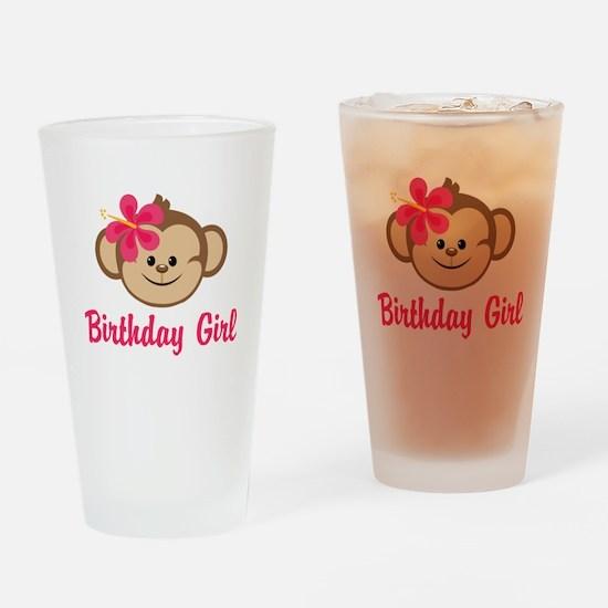 Birthday Girl Pink Monkey Drinking Glass