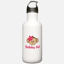 Birthday Girl Pink Monkey Water Bottle