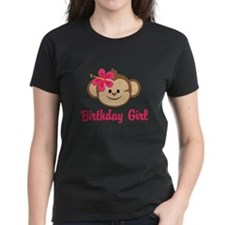 Birthday Girl Pink Monkey T-Shirt