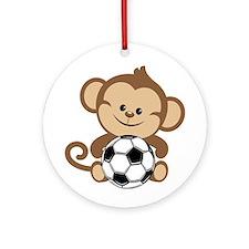 Soccer Monkey Ornament (Round)