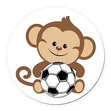 Soccer Monkey Round Car Magnet