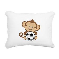 Soccer Monkey Rectangular Canvas Pillow