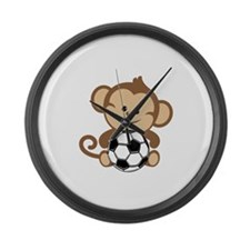 Soccer Monkey Large Wall Clock