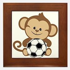 Soccer Monkey Framed Tile
