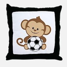 Soccer Monkey Throw Pillow