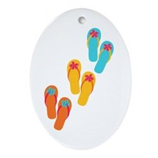 Trio of Flip Flops Ornament (Oval)
