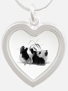 Giant Panda Silver Heart Necklace