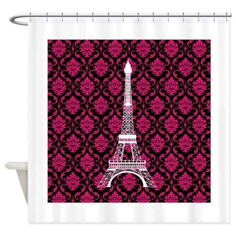 pink white and black eiffel tower shower curtain by