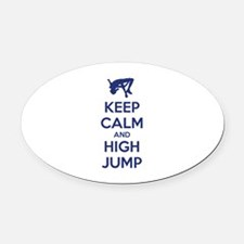 Keep calm and high jump Oval Car Magnet