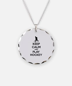 Keep calm and play hockey Necklace Circle Charm