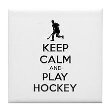 Keep calm and play hockey Tile Coaster