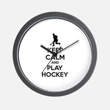 Keep calm and play hockey Wall Clock