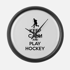 Keep calm and play hockey Large Wall Clock