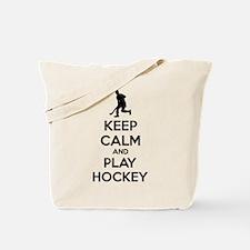 Keep calm and play hockey Tote Bag