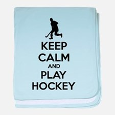 Keep calm and play hockey baby blanket