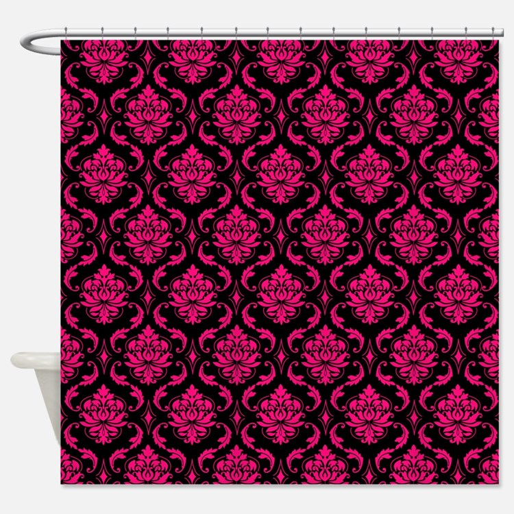 Pink and Black Decorative Shower Curtain