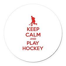 Keep calm and play hockey Round Car Magnet