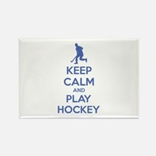 Keep calm and play hockey Rectangle Magnet (100 pa