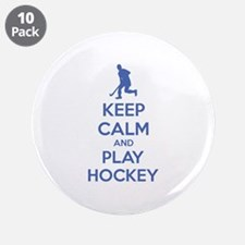 """Keep calm and play hockey 3.5"""" Button (10 pack)"""