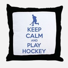 Keep calm and play hockey Throw Pillow