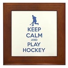 Keep calm and play hockey Framed Tile