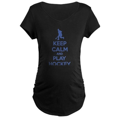 Keep calm and play hockey Maternity Dark T-Shirt