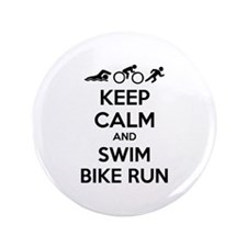 """Keep calm and swim bike run 3.5"""" Button (100 pack)"""