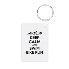 Keep calm and swim bike run Keychains