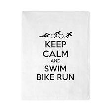 Keep calm and swim bike run Twin Duvet