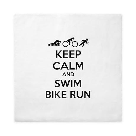 Keep calm and swim bike run Queen Duvet