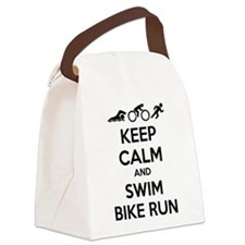 Keep calm and swim bike run Canvas Lunch Bag